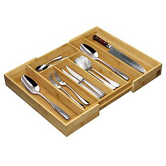 Taylor & Brown Adjustable Expandable Bamboo Cutlery Tray with 5 to 7 Compartments, Size: 5 x 48.5 x 37cm, Drawer Insert
