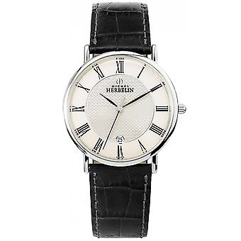 Michel Herbelin 12248-08 Men's Sonates Leather Strap Wristwatch