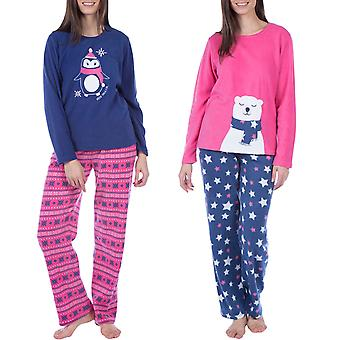 Selena Secrets Womens Animal Fleece Long Sleeve Nightwear Top Bottom Pyjama Set