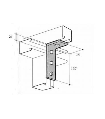 M10 4 Hole Angle Plate (1278) For Channels T304 Stainless Steel (as Unistrut / Oglaend)