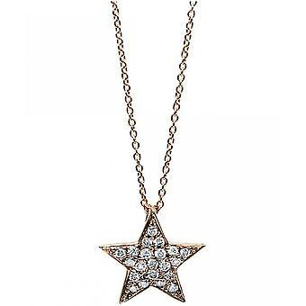 Diamond Collier Collier - Estrella - 18K 750/- Oro Rojo - 0.12 pzes.