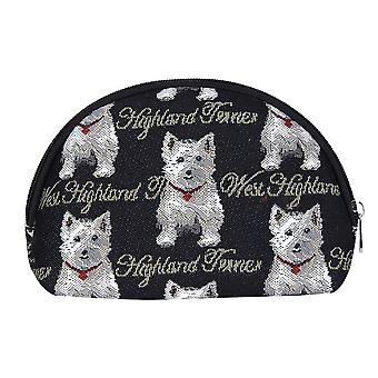 Westie cosmetic bag by signare tapestry / cosm-wes