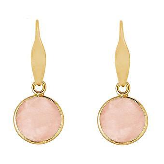 Gemshine örhängen rosenkvarts ädelsten droppe 925 silver, guldpläterad eller ros