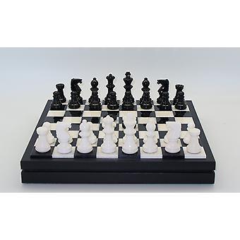 مجموعة الشطرنج الصدر المرمر الأسود آند الأبيض