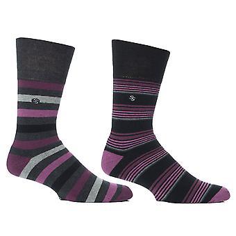 Mens Wine Stripe Cushion Foot Honeycombe Top Gentle Grip Sock By Sock Shop 4pk