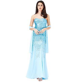 Goddiva Strapless Sequin Maxi Dress With Chiffon Inserts
