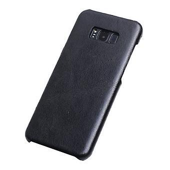 Für Samsung Galaxy S8 PLUS Fall, elegante echte Schutzleder-Abdeckung, schwarz