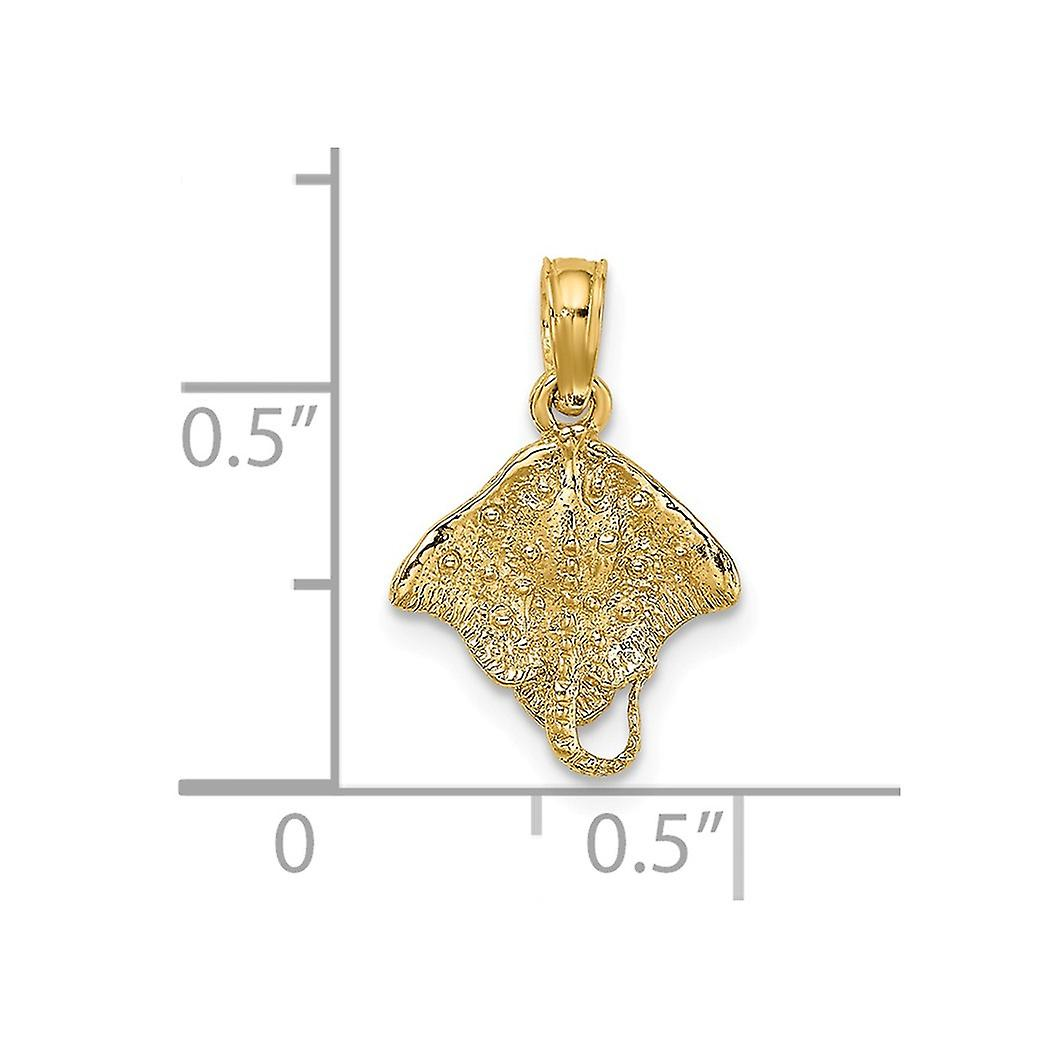 14k Gold Stingray 2 d Charm Pendant Necklace Jewelry Gifts for Women - .7 Grams