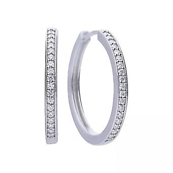 Diamonfire Silver & White Zirconia Classic Creole Hoop Earrings