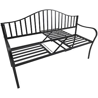 Outsunny Outdoor Metal Frame Bench Patio Park Garden Seating with Foldable Middle Table
