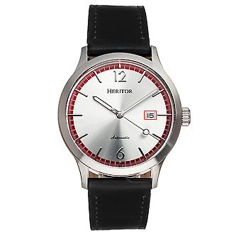 Heritor Automatic Becker Leather-Band Watch w/Date - Argent/Rouge