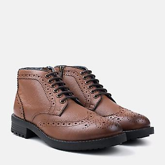 Hans brown leather fashion work boot