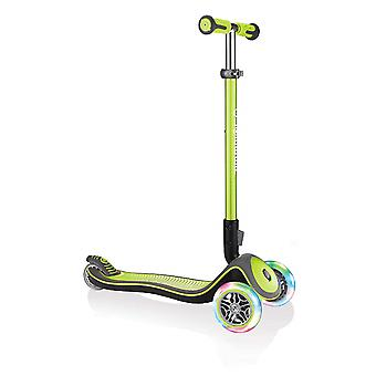 Globber Elite Deluxe Lights Anodised T-Bar Foldable Scooter Lime Green