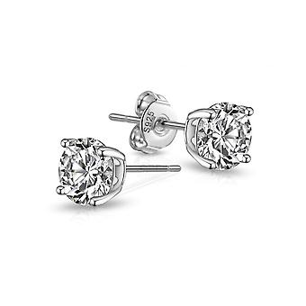 Sterling silver round cz earrings