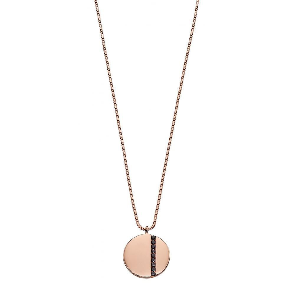 Fiorelli Rose Gold Plated & Black Cz Round Necklace