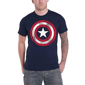 كابتن أمريكا تي قميص بالأسى درع الأعجوبة الرسمية كاريكاتير الرجال البحرية البحرية
