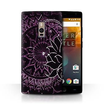 STUFF4 Case/Cover for OnePlus 2/Two/Black/Purple/Henna Paisley Flower