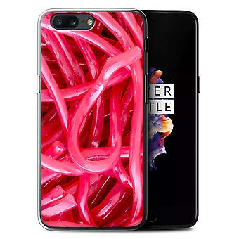 STUFF4 Gel TPU Case/Cover for OnePlus 5/Strawberry Laces/Confectionery