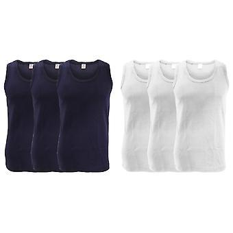 FLOSO Mens Interlock enkelt Vest (pakke med 3)