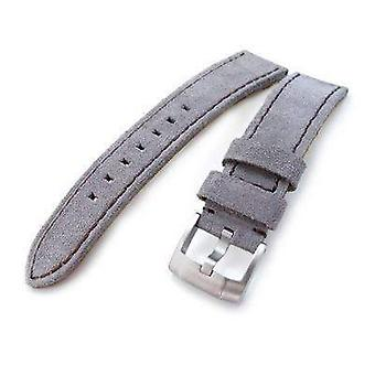 Strapcode nubuck/suede watch strap 20mm, 21mm miltat light grey nubuck leather watch band, brown stitching