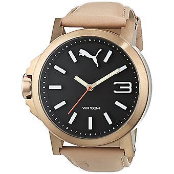 PUMA men's Ultrasize men's wrist watch, leather strap, Beige