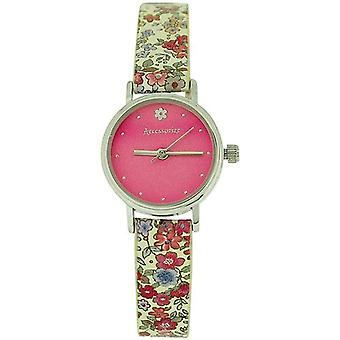 Accessorize Ladies Pink Dial Buckle Closure Flower Design PU Strap Watch AZ2020