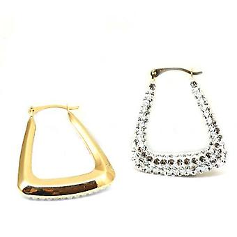 The Olivia Collection 9Ct Gold Handbag Creoles Made With Swarovski Crystals