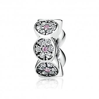 Sterling Silver Flower Spacer With Zirconia Stones - 5559