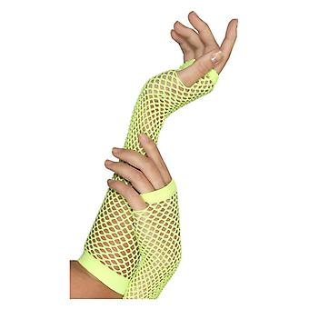 Womens Neon Green Fishnet Gloves Fancy Dress Accessory