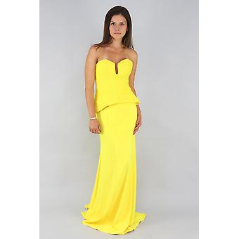 Cassandra strapless fishtail yellow gown