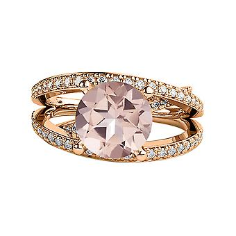 2.90 CTW natural peach/pink VS Morganite Ring with Diamonds 14k Rose Gold Princess  Unique