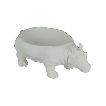 White Sandstone Finish Hippopotamus Decorative Centerpiece Bowl 12.5 Inches Long