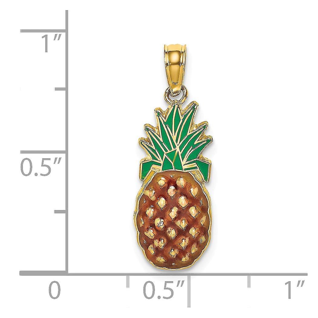 14 k Gold Emaille Ananas 2 d Charm Anhänger Halskette Schmuck Geschenke für Frauen - 1,1 Gramm