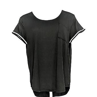 Cuddl Duds Women's Petite Pajama Top Cool & Airy Jersey Black A349591