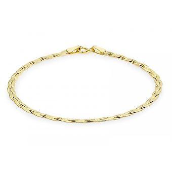 Eternity 9ct Gold Ladies 7 1/4 ' ' gevlochten visgraat armband