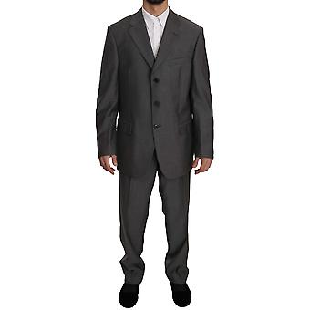 Z ZEGNA Gray Solid Two Piece 3 Button 100% Wool Suit -- KOS1730096