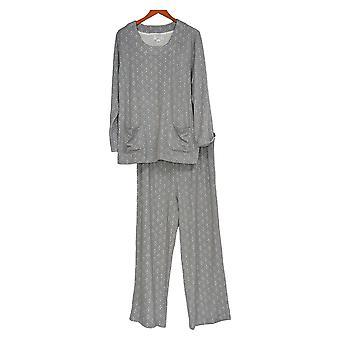 Carole Hochman Kobiety&s Petite Piżama Zestaw Wydrukowany Hacci Szary A297476