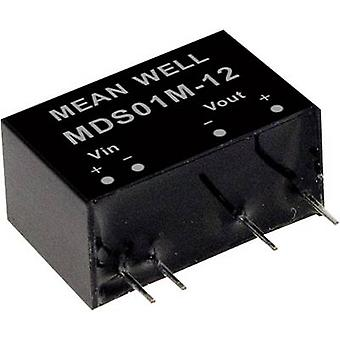 Mean Well MDS01N-12 DC/DC converter (module) 84 mA 1 W No. of outputs: 1 x