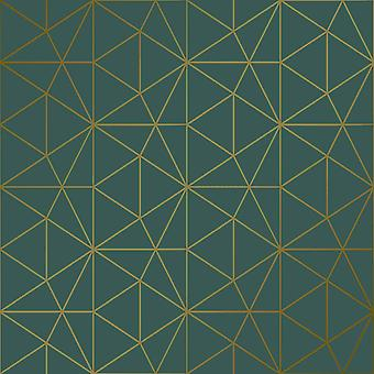 Metro Prism Geometric Triangle Wallpaper - Emerald Green and Gold - WOW037