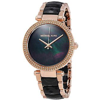 Michael Kors MK6414 Parker Rose Gold Black Acetate Bracelet Ladies Watch