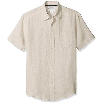 Essentials Men's Slim-Fit Short-Sleeve Linen Shirt, Light Blue, Medium