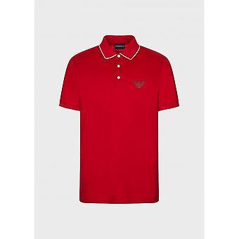 Emporio Armani Cotton Zip Up Red Polo Shirt