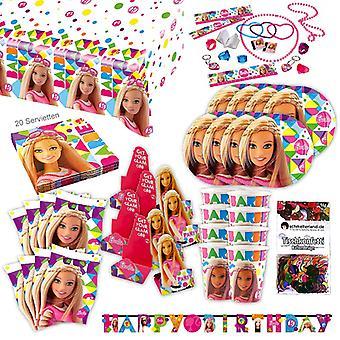 Conjunto de festa original de Barbie sparkle XL 111-teilig para o pacote de festa de decoração de Barbieparty de 8 convidados