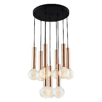 Lampe de suspension tube noir, métal doré 60x60x120 cm