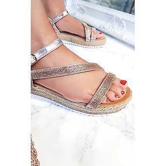 IKRUSH Womens Matilda Diamante Flatform Sandals