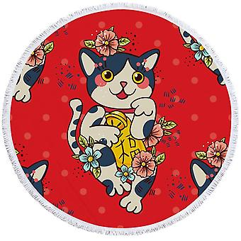 Cute Japanese Cat Beach Towel