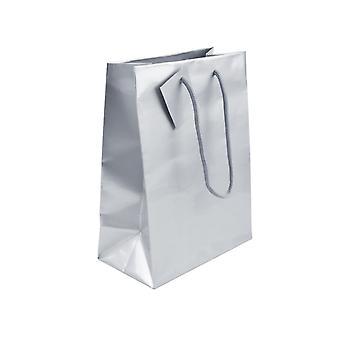 Silver Gloss Gift Bag, Medium Pack of 5 215x160x90mm