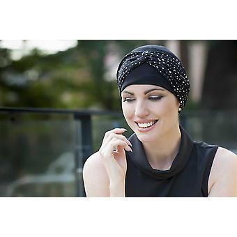 Chemotherapy Hat - Ella Black and White Polka Dot