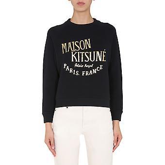 Maison Kitsuné Fw00337km0002bk Women's Zwart Katoen Sweatshirt