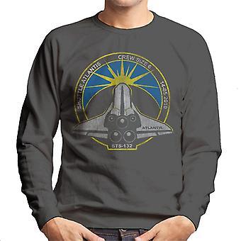 NASA STS 132 Atlantis Mission Badge Distressed Men's Sweatshirt